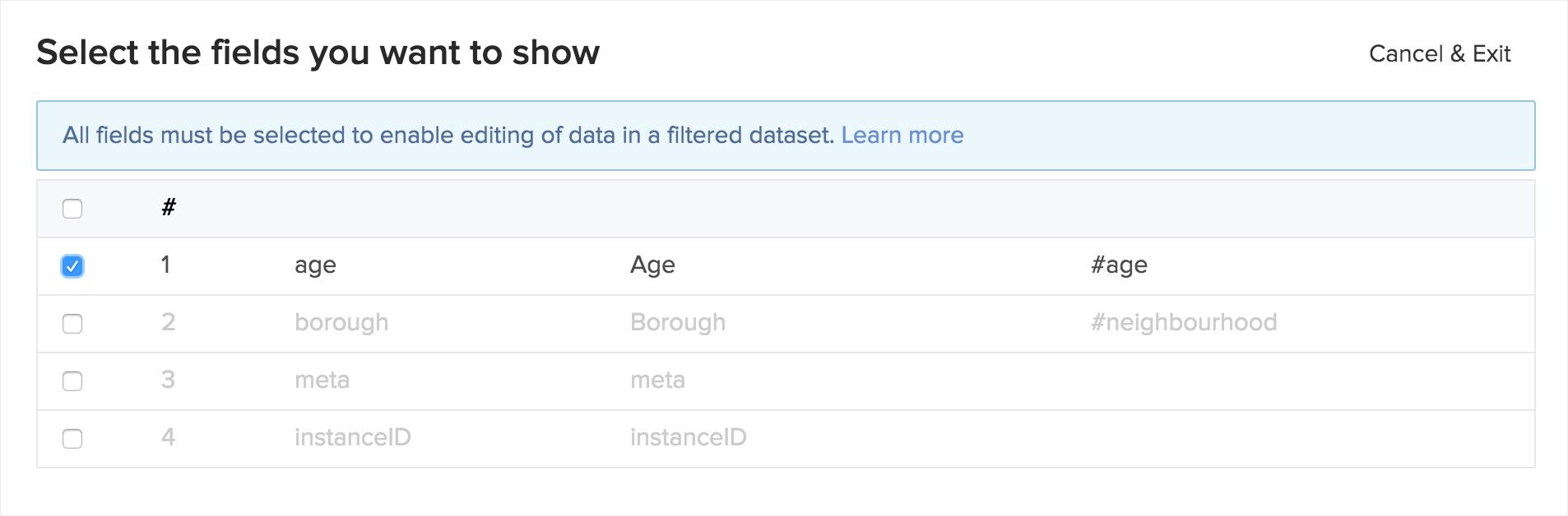 HXL create filtered dataset