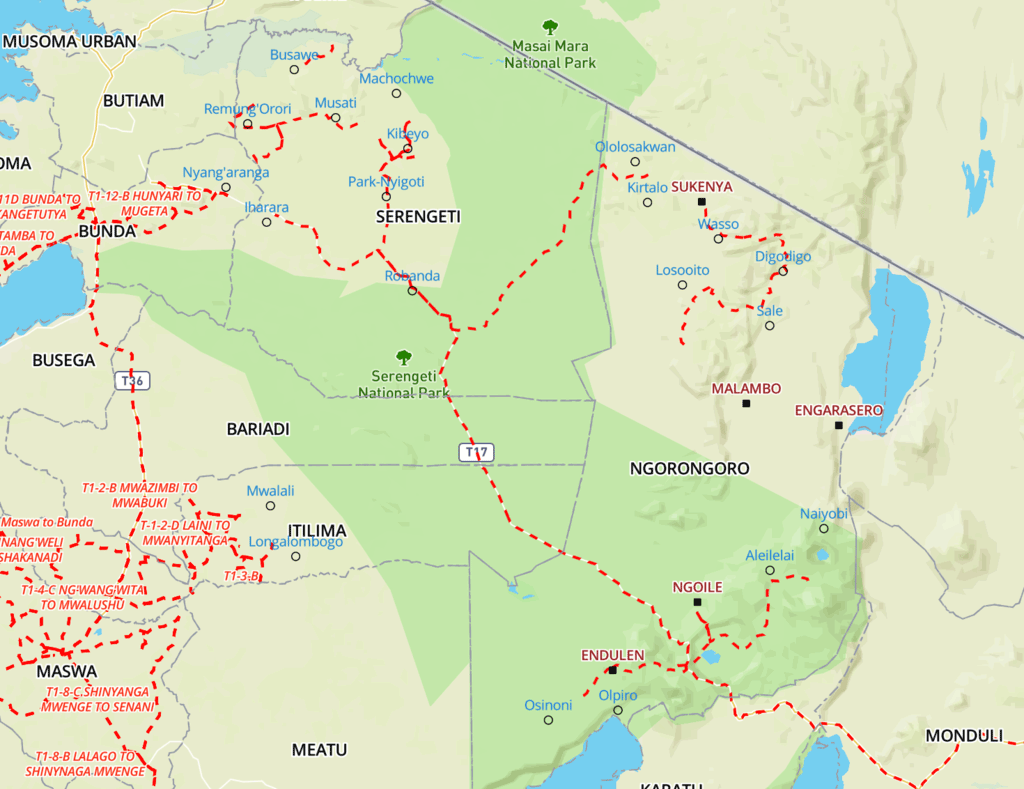 Example of a hard copy route map